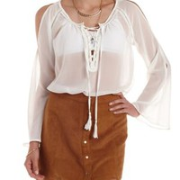 Ivory Long Sleeve Lace-Up Chiffon Tunic Top by Charlotte Russe