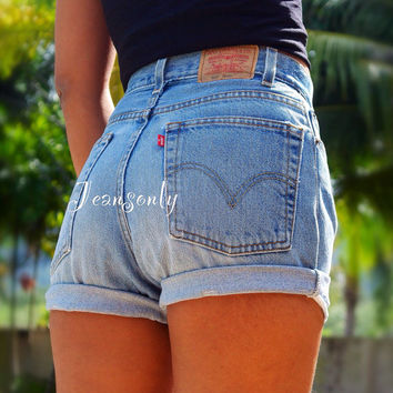 Levi high waisted cut offs shorts high waist denim shorts by Jeansonly