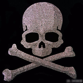 PUNK SKULL # 9  Rhinestone Diamante Transfer Iron On Hotfix  Gem Crystal  Motif Patch  Bling