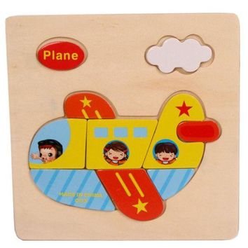 MDIGYN5 1-3 year baby Plane Pattern Wooden Puzzle Educational Puzzles for children Baby Kids Gift Wooden Puzzles