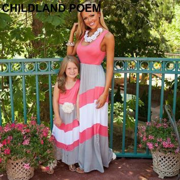 mother daughter dresses bohemian wave striped mom and daughter dress chevron maxi mother daughter matching clothes family look