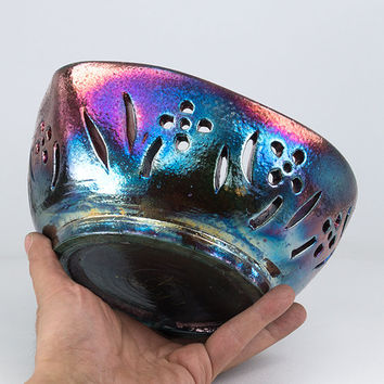 "Heart-Shaped Ceramic Yarn Bowl, Knitting Bowl 'Kareueus' Pottery (size 8"" x 3.5"") Raku Art - YB1328"