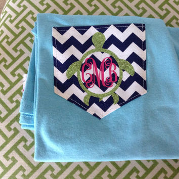 LONG SLEEVE Turtle Monogram Chevron Pocket T-Shirt Womens