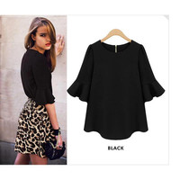'The Vanora' Black Ruffled Sleeve Zip Back Chiffon Blouse