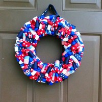 Patriotic Ribbon Wreath for Front Door Red White and Blue