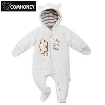 Baby Rompers Bear Infant Bebe Boys Girls Jumpsuits Cartoon Newborn Pajamas Warm Overalls Costumes Spring Baby Sleepers Clothes