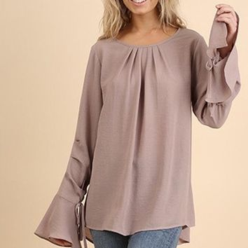 Simple Classics Bell Sleeve Blouse - Taupe