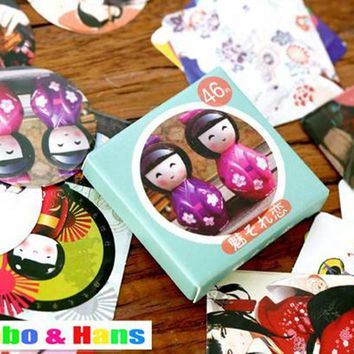 New 1 lot = 1 pack = 46 pcs cute japan girl doll mini style paper seal sticker