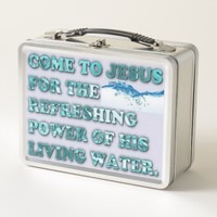 The Refreshing Power Of Jesus' Living Water. Metal Lunch Box