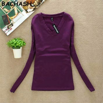 BACHASH New Fashion Export Brand Women Cashmere Sweater Solid Long Sleeve Slim Women Knitted Wool Sweater Pullovers Spring
