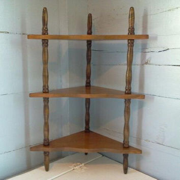 Vintage, Three Tier, Wood, Corner Shelves, Corner Shelf, Counter Shelf, Wall Shelf, Spice Rack