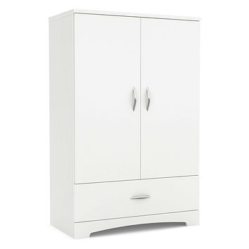 2-Door Cabinet with Bottom Storage Drawer in White Wood Finish