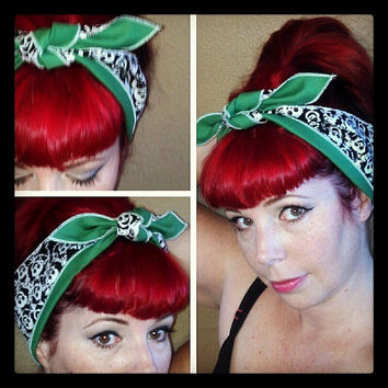 Happy Creepy Skully Guys and Green WIDE double sided Headwrap Bandana Hair Bow Vintage Style - Rockabilly Pin Up For Women, Teens