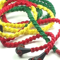 Rasta Smile - Tangle Free Earbuds - Wrapped Headphones - Your Choice of Headphones