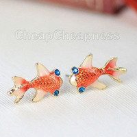Betsey Johnson Swimming Gold Fish Japanese Koi Carp Gosanke Earrings L .S