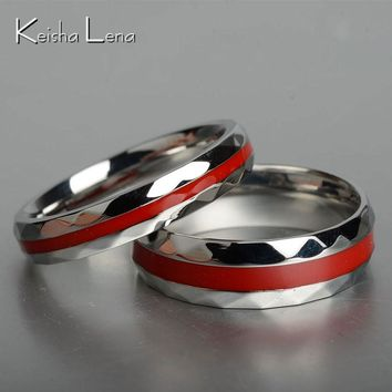 Keisha Lena Hot sale Red Line firefighter rings for men women  Lover's couple ring 316L stainless steel engagement jewelry