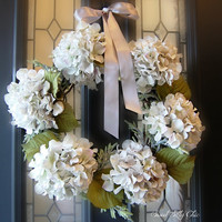 Silver White Hydrangea Wreath, Winter Front Door Wreath, Winter Wedding, Holiday Wreath, Housewarming Gift