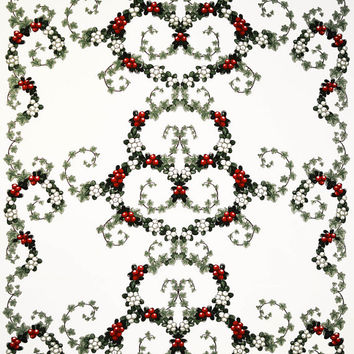 Christmas Tablecloth white grey green red berries heart garland Scandinavian Design ,also napkins , runners , curtains available, great GIFT