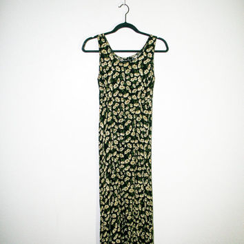 90s black floral summer maxi dress, daisy print 1990s spring fashion boho bohemian hipster soft grunge urban outfitters 2014 free people
