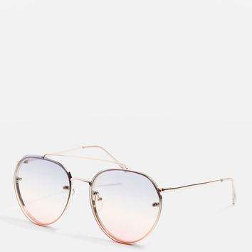 Small Rimless Round Sunglasses
