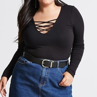 Plus Size Strappy Ribbed Top