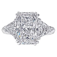 5.08 Carat Radiant-Cut Three Stone Engagement Ring