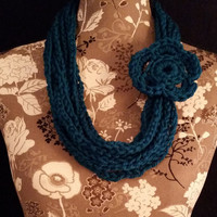 color: Peacock // Luxury Teal Necklace Scarf, Women Teen, Crochet Necklace, Bridal Shower Gift, Teal Blue Accessory, Winter Jewelry