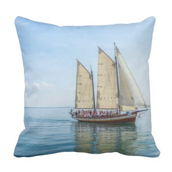 Sailboat Voyage of the World Throw Pillows