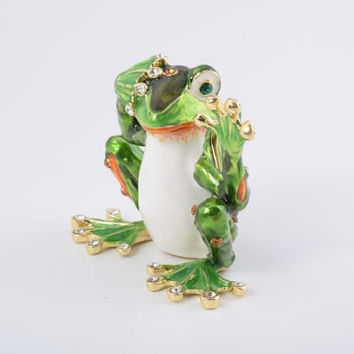 Green Frog See No Evil Faberge Styled Trinket Box Handmade by Keren Kopal Enamel Painted Decorated with Swarovski Crystals