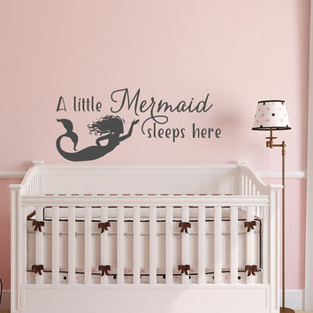 A Little Mermaid Sleeps Here Girls Wall Decor - Mermaid Wall Decal Quote - Girl Wall Decals Nursery Kids Room Decor- Wall Decals Nursery 163