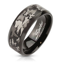 Stainless Steel Men's Black Hunting Camouflage Camo Design Band Ring Size 9-13