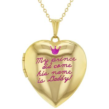 Gold Tone Daddy's Princess Pink Crown Photo Girls Pendant Heart Locket Necklace 16""