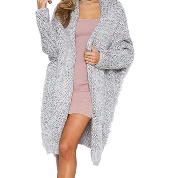 Women's Gray Long Cardigan Cable Knit Open Dolman Style Sweater with Pockets