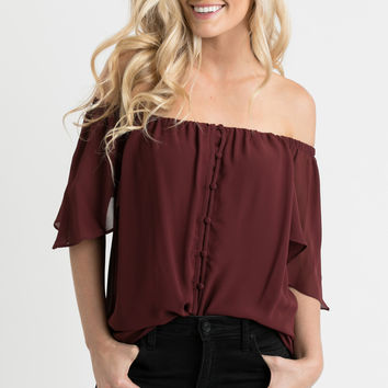 Alexandra Burgundy Off the Shoulder Button Blouse
