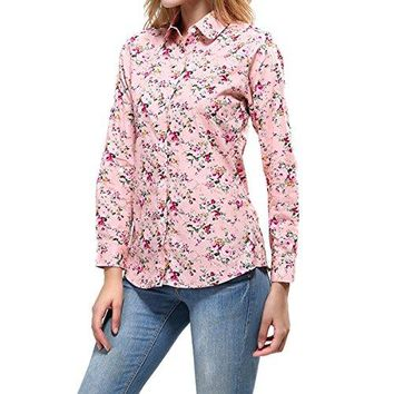 Cekaso Womens Long Sleeve Shirt Round Collar Floral Print Cotton Button Up Shirt