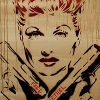 Lucille Ball Portrait 24x30 LUCILLE BALL BUSTER  I Love Lucy Inspired Original Painting Graffiti Street Art Thug Gangster Urban Art Pop Art