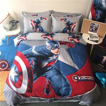 disney mavel home textile queen size bed set captian america pillowcase kids bedroom decor 4pc bed linen egyptian cotton bedding