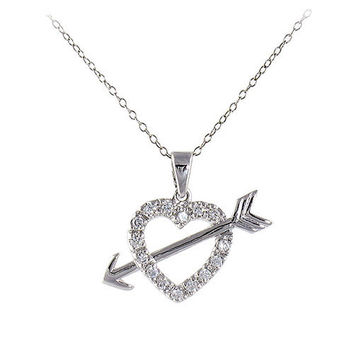 Cupid's Heart and Arrow Necklace in Sterling Silver