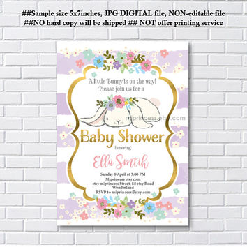 Bunny Baby Shower, easter girl baby shower, Rabbit shower,  Baby girl shower , baby boy shower Invitation Card Design - card 1229