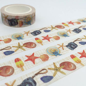 beach theme washi tape 10M starfish straw hat ice cream camera tape beach party decor sticker tape planner accessories scrapbook gift