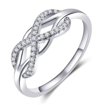 Infinity Love Rings Micro Inlayed Cross Rings For Women Wedding Cubic Zircon CZ Crystal Ring Rose Gold Colo