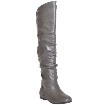 Womens Ruched Knee High Boots Gray * RUN 2 SIZE SMALL *