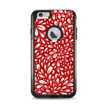 The Bright Red and White Floral Sprout Apple iPhone 6 Plus Otterbox Commuter Case Skin Set