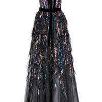 Bead and Feather Embroidered Gown | Moda Operandi