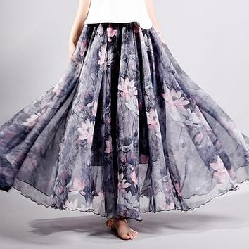 Summer Fashion Vintage Bohemia Floor-Length Maxi Skirt