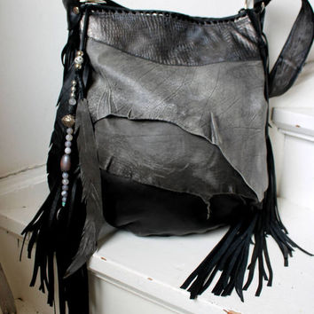 e08b6829a2 Gray   black distressed leather hobo few tones bag fringe bo.