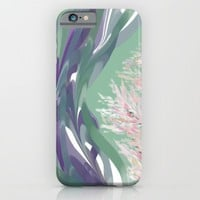 Deep Ocean River Abstract In Soft Green and Purple iPhone & iPod Case by Jen Warmuth Art And Design