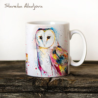 Barn owl Mug Watercolor Ceramic Mug Unique Gift Coffee Mug Animal Mug Tea Cup Art Illustration Cool Kitchen Art Printed mug Bird Owl