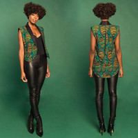 Sleeveless African Print Contrast Trim High-Low Vest