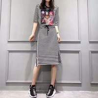 """Gucci"" Sundress Women Casual Fashion Multicolor Letter Pattern Short Sleeve Show Thin T-shirt Dress"